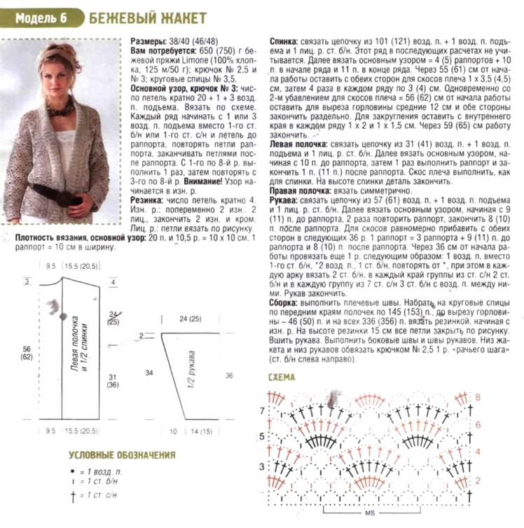 Жакет крючком схемы и описание с для начинающих