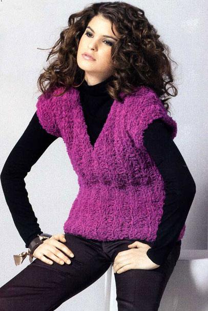 Пурпурный жилет, связанный спицами, Вязание для женщин