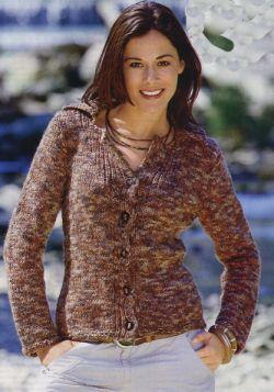 Вязание жакет коричневый с желтым