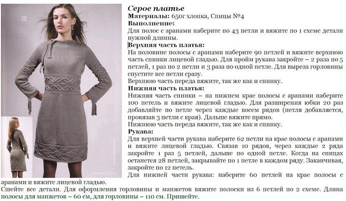 [Вязанное платье с описанием спицы